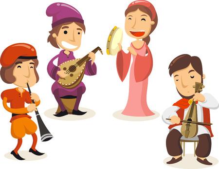 edad media: Edad media músicos de la corte real ilustraciones