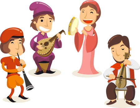 Middle ages royal court musicians illustrations Stock Illustratie