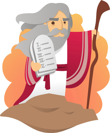 ten commandments: Moses with the tablets of the law of god