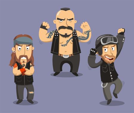 Motorcycle Bikers Club Members, vector illustration cartoon.