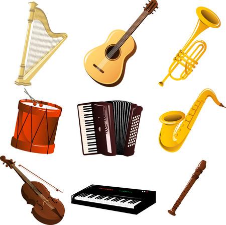 chiave di violino: Musica strumentario cartone animato Vettoriali