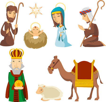 reyes magos: Natividad escena personajes ilustraciones