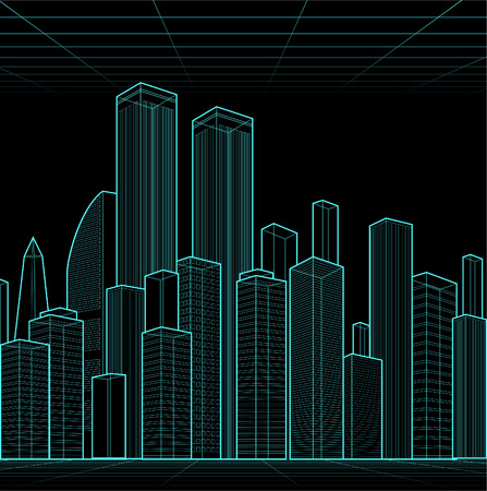 superstructure: A bright neon like futuristic city. Neon edifice towe high rise multi stored building city vector illustration. Illustration