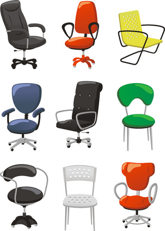 Jogo das cadeiras de escritório Ilustração