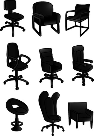 Office black chair collection Illustration
