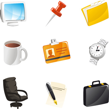career entry: Office Icon Set, Computer, Pin, Clip, Watch, Coffee ID card, Suitcase, Chair, Pen, Paper and suitcase. Vector Illustration cartoon.