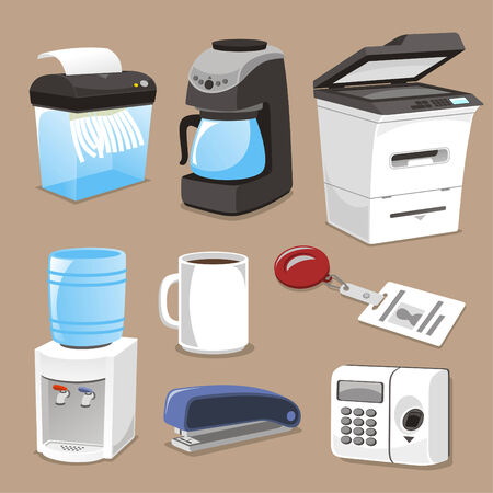 burglar alarm: Office supply elements vector illustration. Illustration