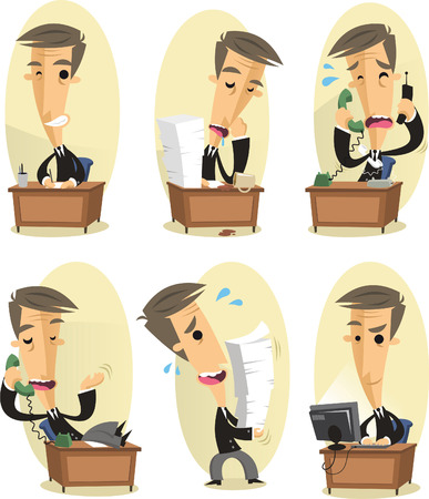 Office worker cartoon set Illustration