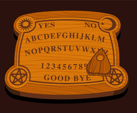 fortune teller: Magical ouija wooden Board vector illustration, with letters and numbers, good bye sign and yes or no.