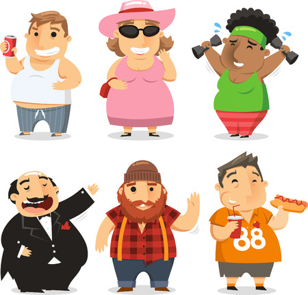 Mensen met overgewicht cartoon illustraties