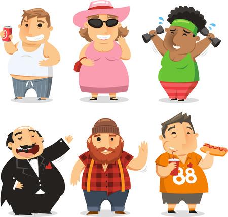 fat burning: Overweight people cartoon illustrations