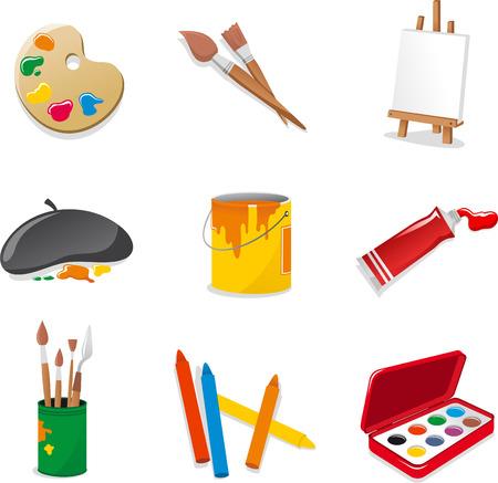 Beaux-arts icon set. Avec la palette de couleurs, un pinceau, pupitre, se crispe toile, châssis, chassis, peinture, peinture acrylique, pinceaux, crayons, encres d'aquarelle. Vector illustration bande dessinée.