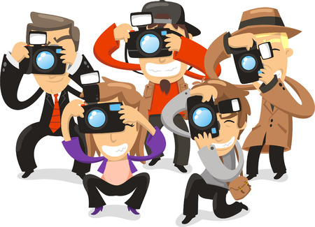 photography themes: Paparazzi taking pictures photograph camera, vector illustration cartoon.