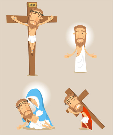 Passion of christ cartoon illustrations Vector