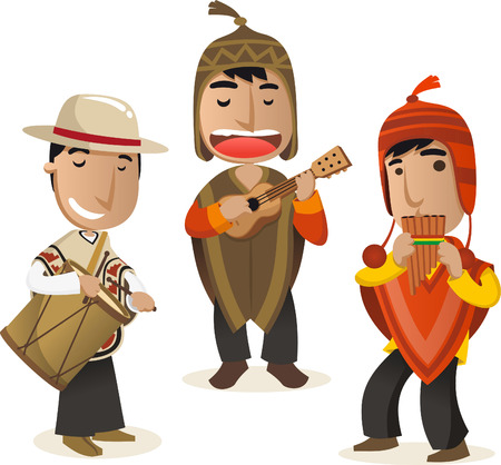cartoon Peruvian musicians vector cartoon set. Иллюстрация