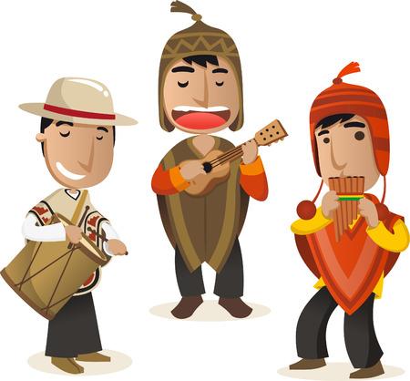 peruvian ethnicity: cartoon Peruvian musicians vector cartoon set. Illustration