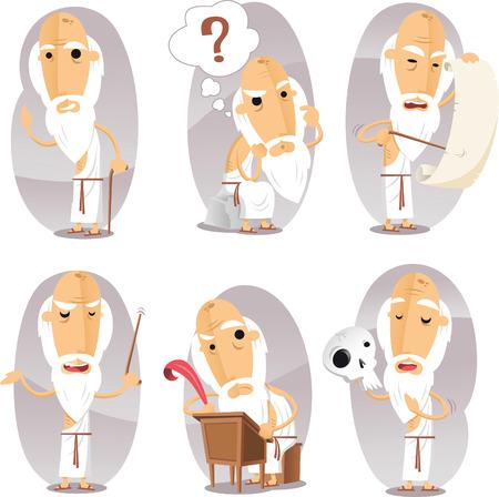 Filósofos Filosofía Filosófica Filósofo en Acción Conjunto. Ilustración vectorial de dibujos animados.