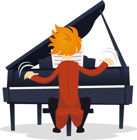 piano de cola: virtuoso m�sico tocando el piano en concierto. Vectores