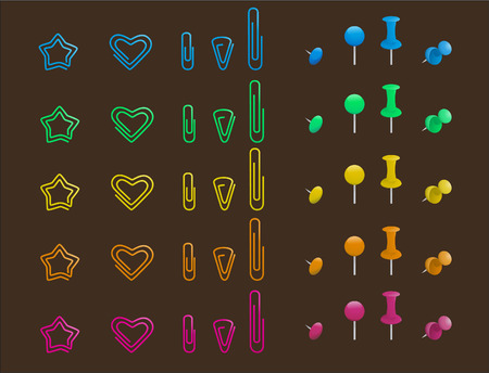 Nine different types of pins and clips in different colours like, blue pins and clips, green pins and clips, yellow pins and clips, orange pins and clips and pink pins and clips vector illustration.