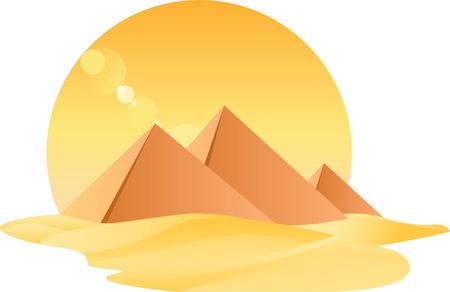 piasek: Egipt Wielkiej Piramidy egiptologii z piaskiem i Sun ilustracji wektorowych. Ilustracja