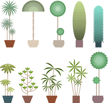 front or back yard: stylized plant icon set Illustration