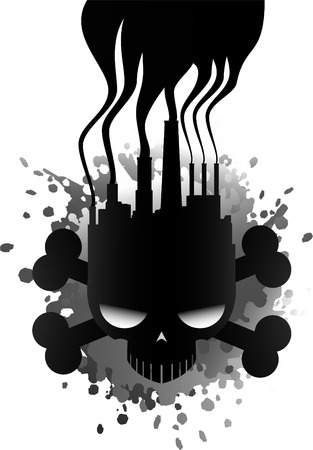 unsanitary: Polluting industry skull icon illustration