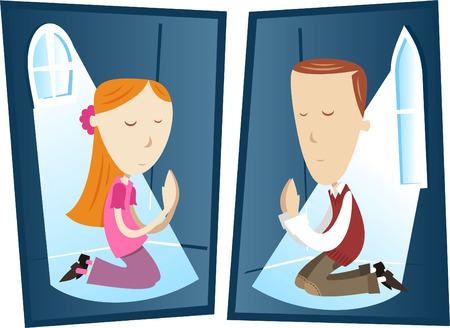 Young boy and girl praying to god cartoon