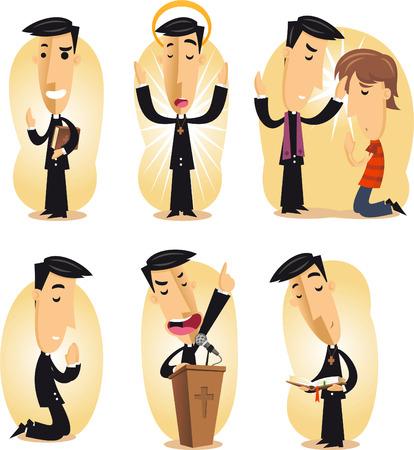 Preacher cartoon illustration set Illustration