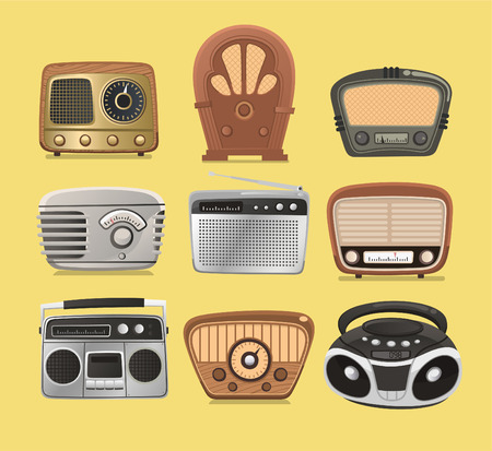 Retro revival radios hi fi tuner broadcasting system vector illustration.