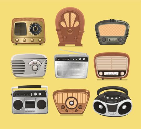 restored: Retro revival radios hi fi tuner broadcasting system vector illustration.