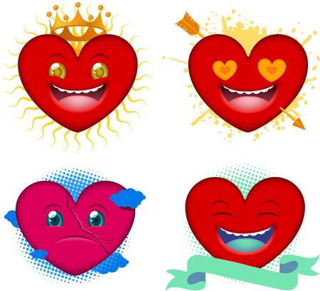 Cartoon hearts icon smiley faces Ilustração