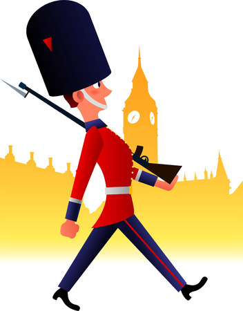 bearskin hat: redcoat soldier cartoon Illustration