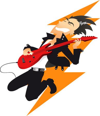 ロック音楽ギター プレーヤー漫画  イラスト・ベクター素材