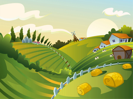 rural community: Rural landscape cartoon illustration
