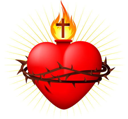 red love heart with flames: Sagrado Coraz�n ilustraci�n vectorial Vectores