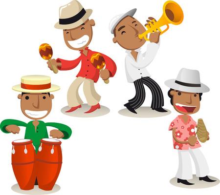 Salsa muzikanten cartoons