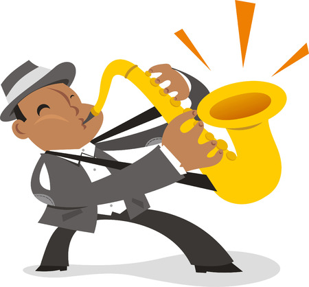 Saxophone jazz player cartoon
