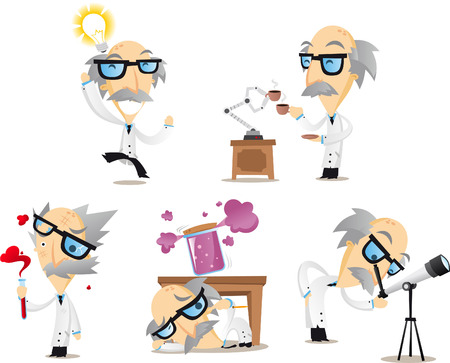 Scientist working in lab telescope idea frustrated tired happy. Vector illustration cartoon.