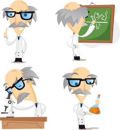 metodo cientifico: científico, genio científico, la ciencia, el trabajo duro. Ilustración vectorial de dibujos animados.