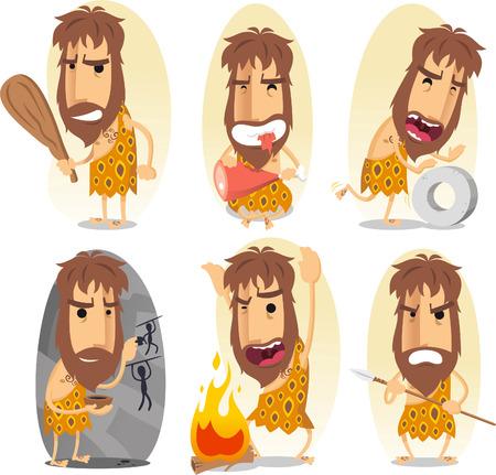 caveman cartoon action set