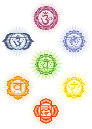 vishuddha: Chakras icon set Illustration