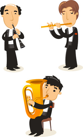 classical music: Klassieke muziek messing wind musici Stock Illustratie