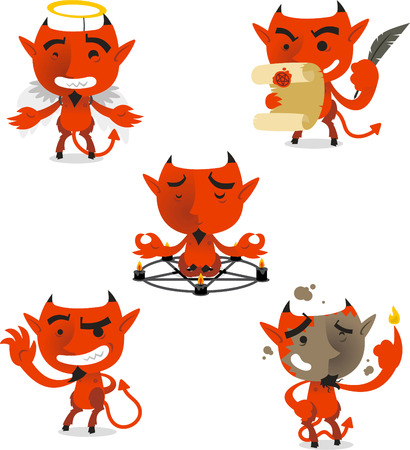 angry angel: Little devil cartoon action set