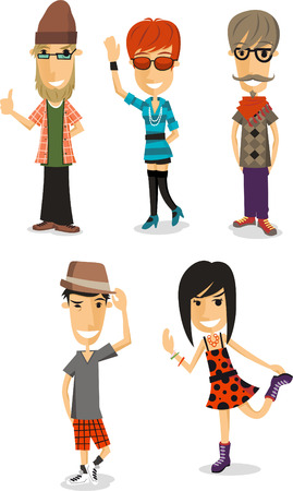 Hipster cartoon collection Vector