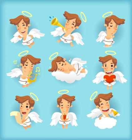 serene people: Litte angel cartoon illustrations Illustration