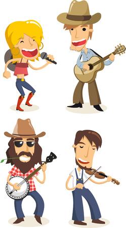 country music: Musica musicisti Country cartoons Vettoriali