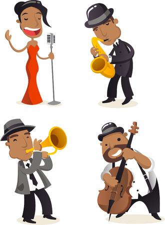 jazz singer: Jazz musicians cartoon illustrations
