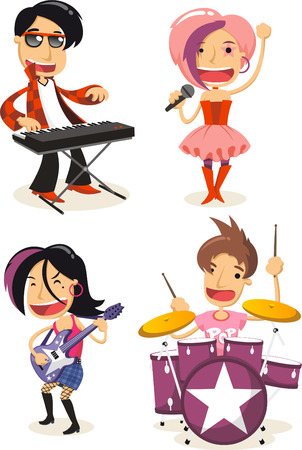 Pop music musicians cartoon characters Stock Illustratie