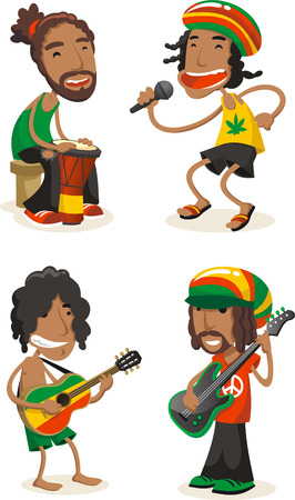 Reggae musicians cartoon set Illustration