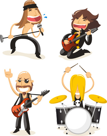 Rock band musicians cartoon